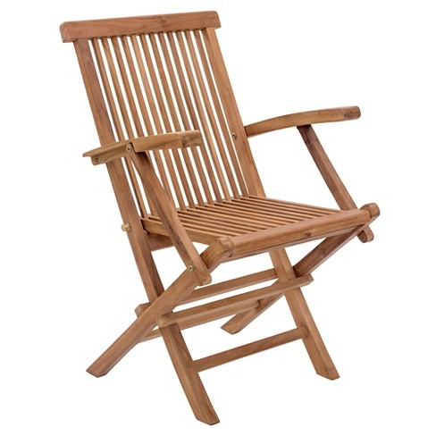 Modern Teak Folding Arm Chair - Natural - ZM Home - image 1 of 7