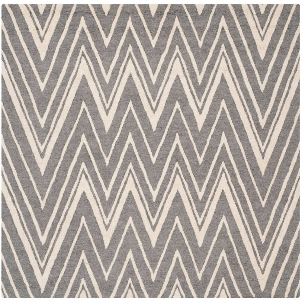 Burton Textured Rug - Dark Gray / Ivory (4' X 4' Square) - Safavieh, Dark Gray/Ivory