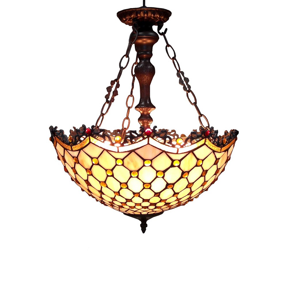 Tiffany-Style Chandelier, Multi-Colored
