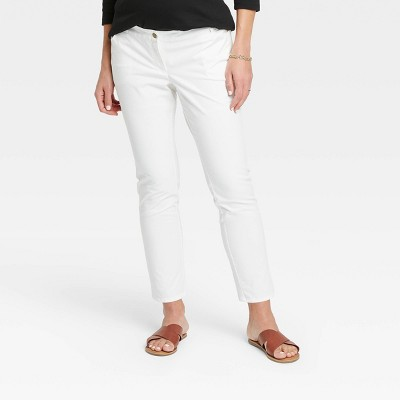 The Nines by HATCH™ Maternity Classic 5 Pocket Cotton Twill Skinny Pants White