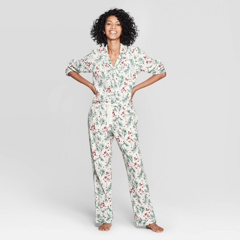 Women's Holly Print Perfectly Cozy Flannel Pajama Set - Stars Above™ Cream - image 1 of 2