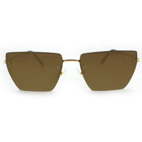da5b20604c Women s Rimless Rectangle Sunglasses with Brown Lenses - A New Day™ Gold