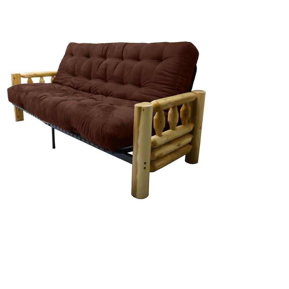 8 Lodge Cotton/Foam Futon Sofa Sleeper Suede Chocolate Brown - Epic Furnishings