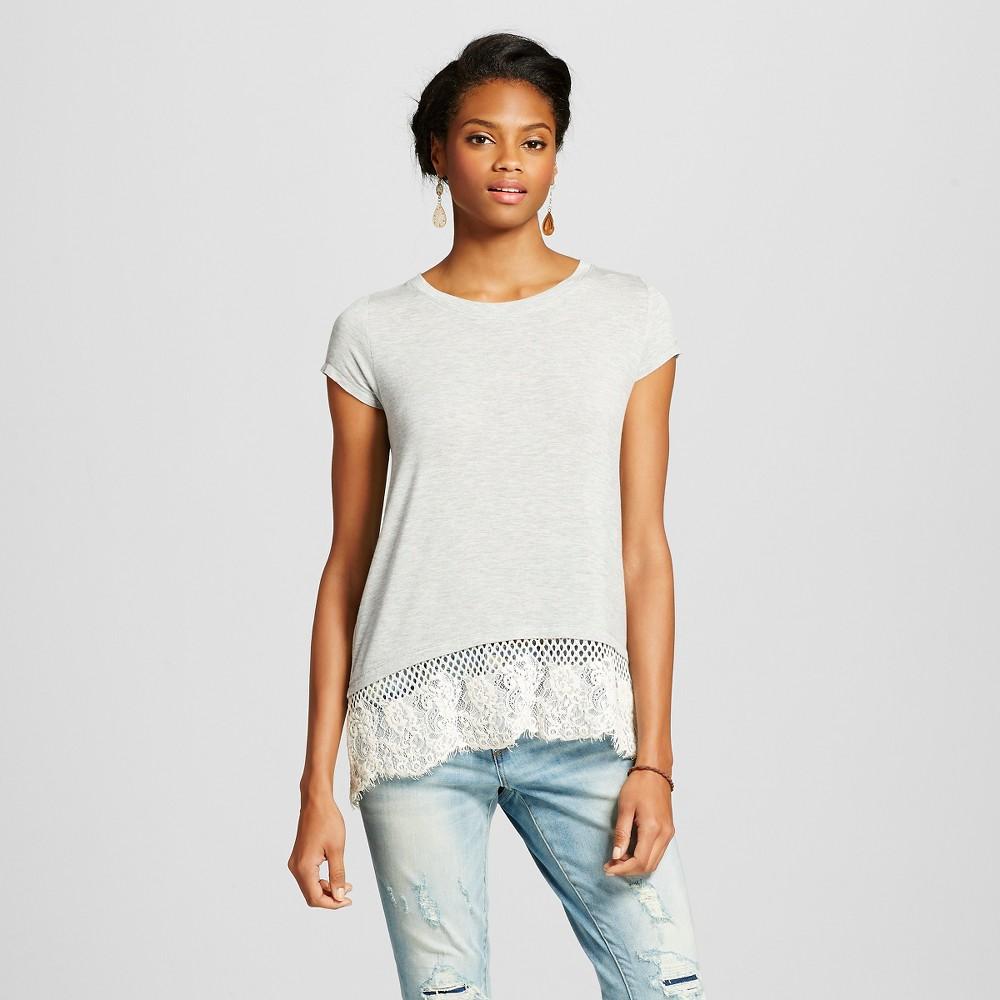 Women's Lace Bottom T-Shirt - Xhilaration Heather Gray M