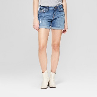 Women's Mid-Rise Rolled Hem Boyfriend Jean Shorts - Universal Thread™ Medium Wash 12