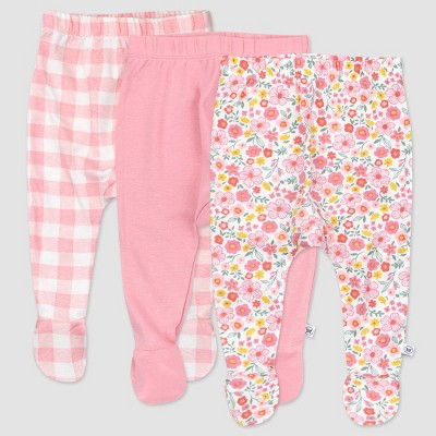Honest Baby Girls' 3pk Organic Cotton Fall Floral Footed Harem Pull-On Pants - Pink 0-3M