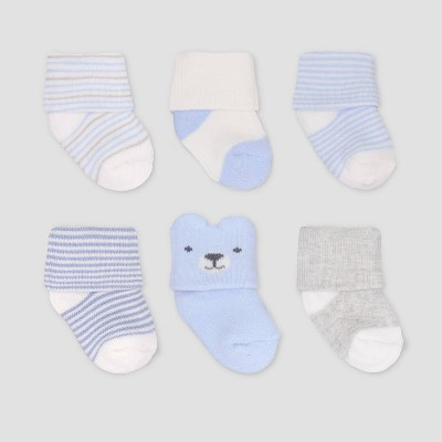 Baby Boys' 6pk Bear Crew Socks - Just One You® made by carter's Blue 0-3M