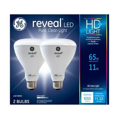 General Electric 2pk 65W BR30 LED Light Bulb Radiant White