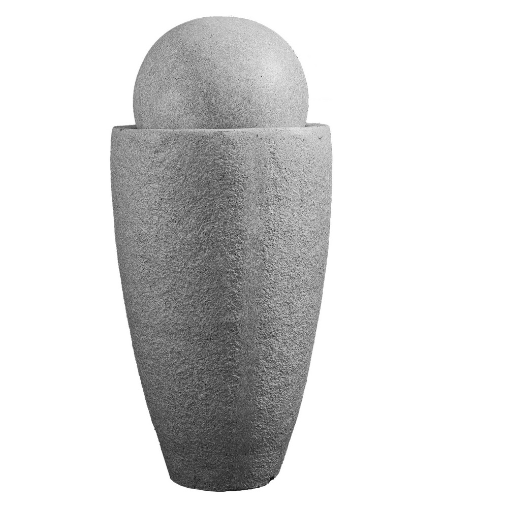 "Image of ""25.6"""" Indoor/Outdoor Round Modern Stone Textured Water Fountain with LED Lights Gray - XBrand"""