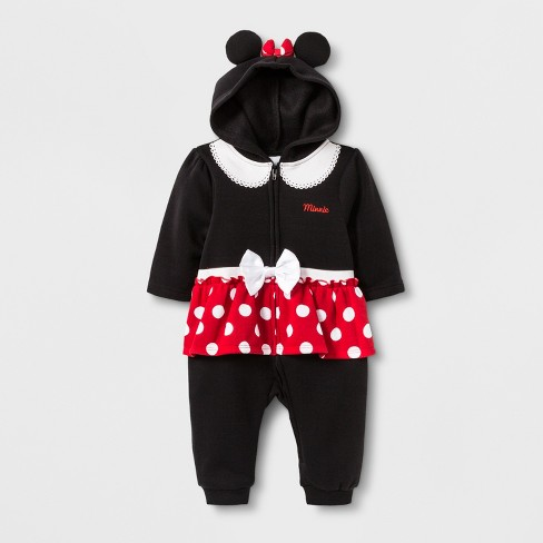 4ae788c3b7eb Baby Girls  Disney Mickey Mouse   Friends Minnie Mouse Long Sleeve Hooded  Romper - Black