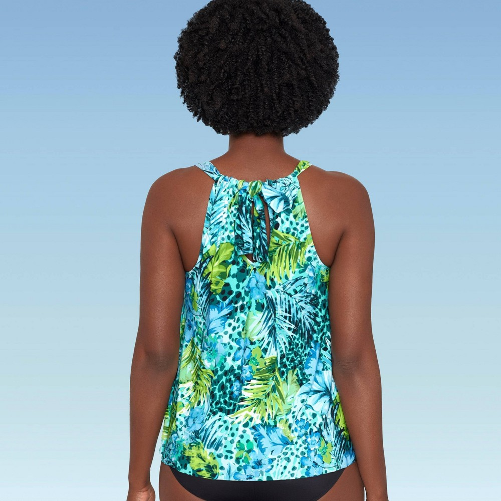 Women 39 S Slimming Control High Neck Tiered Tankini Top Dreamsuit By Miracle Brands Tropical Print 16