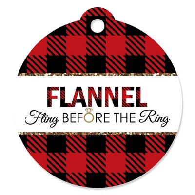 Big Dot of Happiness Flannel Fling Before the Ring - Buffalo Plaid Bachelorette Party Favor Gift Tags (Set of 20)