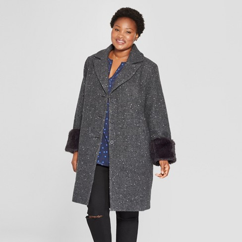 e3560156aa90a Women s Plus Size Single Breasted Coat - Ava   Viv™ Charcoal 3X   Target