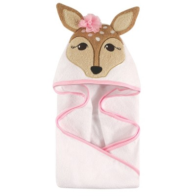 Hudson Baby Infant Girl Cotton Animal Face Hooded Towel, Fawn, One Size