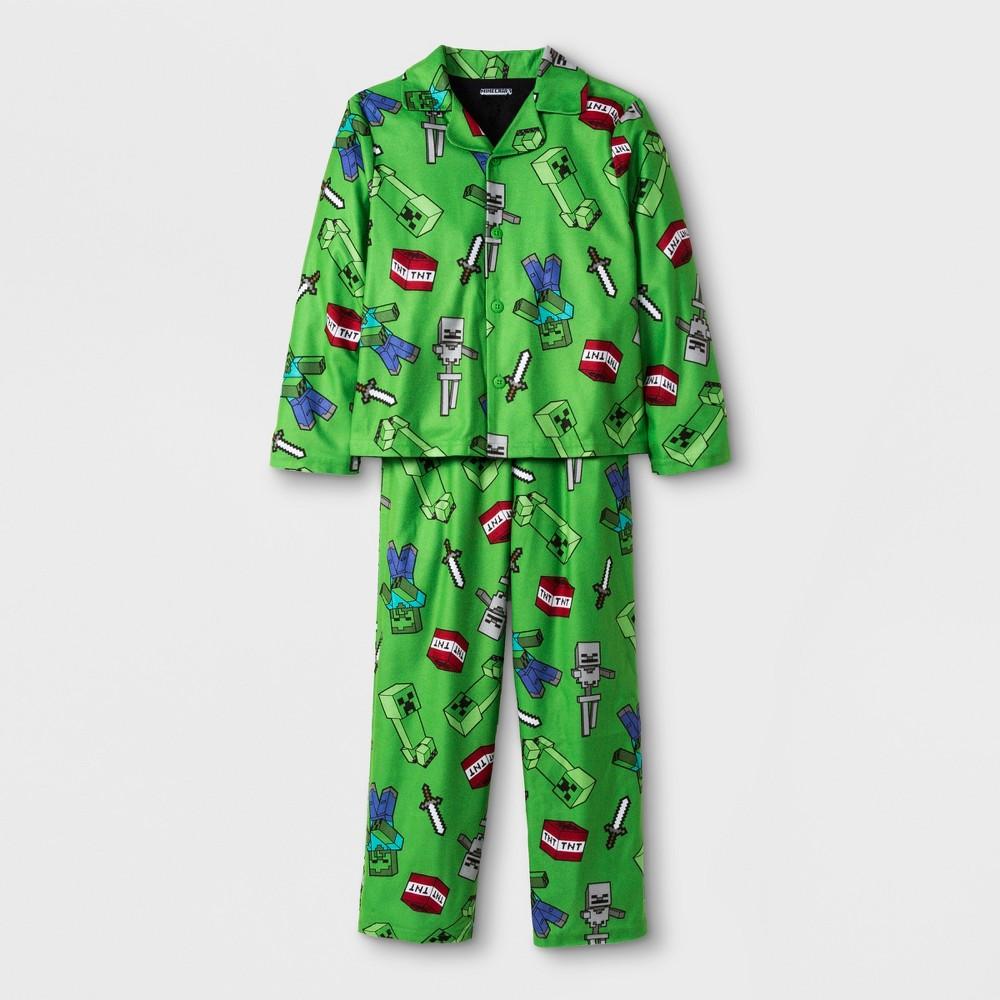 Boys' Minecraft 2pc Pajama Set - Green 8
