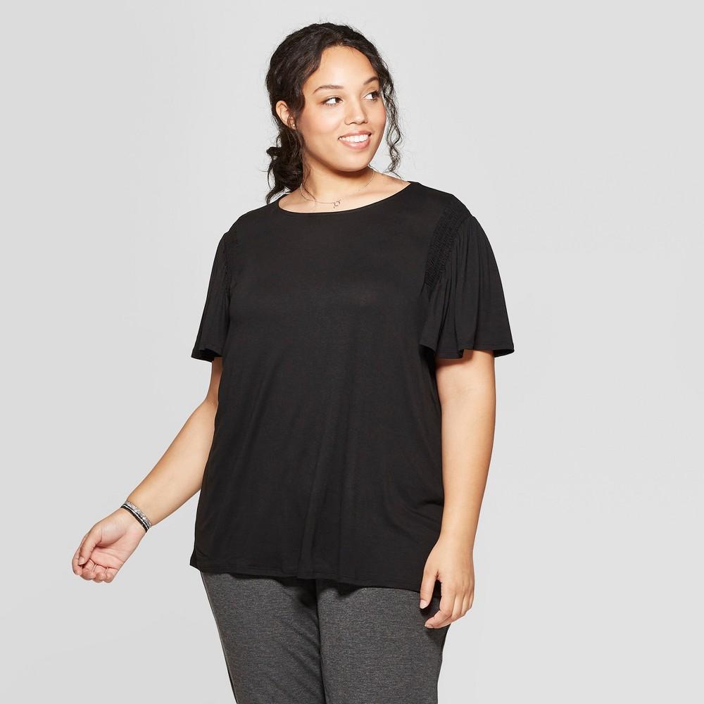 Women's Plus Size Short Sleeve Crew Neck Smocked Detail Knit T-Shirt - Ava & Viv Black 2X