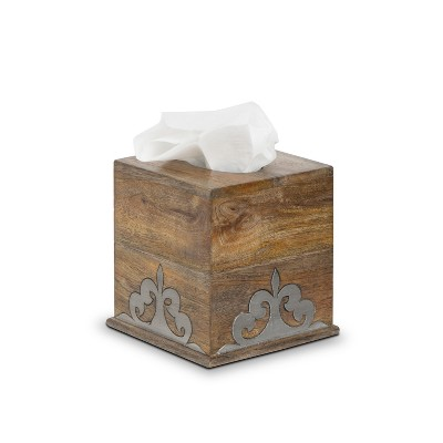GG Collection Wood and Inlay Metal Heritage Collection Square Tissue Box Cover