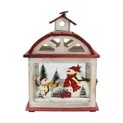 """Northlight 14.5"""" Red and White Snowman Holiday Scene Christmas Candle Lantern"""