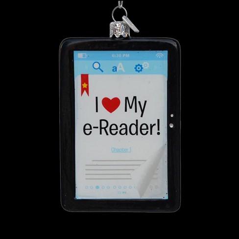 """Kurt S. Adler 4.25"""" Noble Gems """"I Love My E-Reader"""" Glass Christmas Ornament - White - image 1 of 1"""