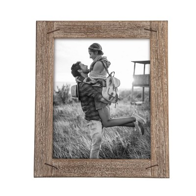 8 x 10 inch Decorative Distressed Wood Picture Frame with Nail Accents - Foreside Home & Garden