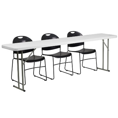 Flash Furniture 8-Foot Plastic Folding Training Table Set with 3 Black Plastic Stack Chairs