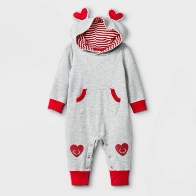 Baby Heart Ears Romper - Cat & Jack™ Heather Gray 0-3M