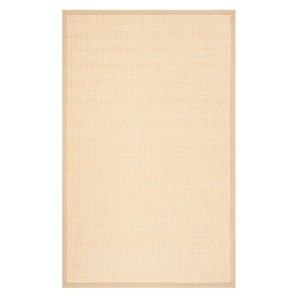 6'X9' Solid Loomed Area Rug Natural/Beige - Safavieh, White