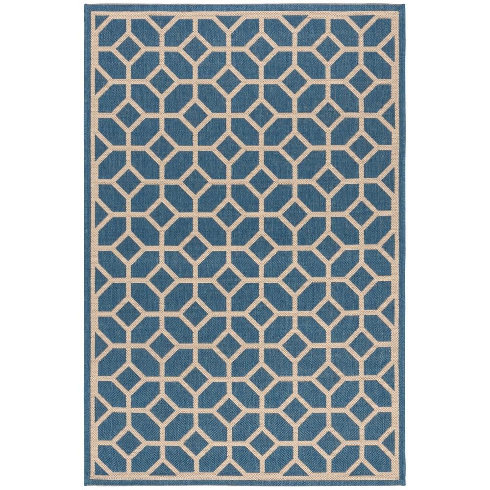 4 X6 Geometric Loomed Area Rug Blue Cream Safavieh