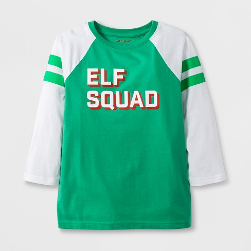 Kids' 3/4 Sleeve 'Elf Squad' T-Shirt - Cat & Jack™ Green XS - image 1 of 2
