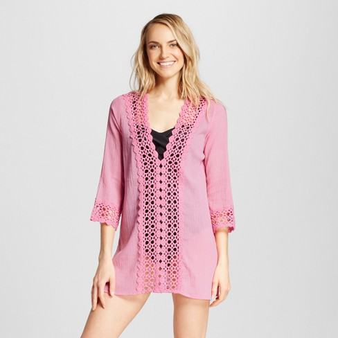 Women's Crochet Front Cover Up Dress - Pink - Mango Reef - image 1 of 2