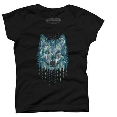 Geometric Wolf Girls Graphic T-Shirt - Design By Humans