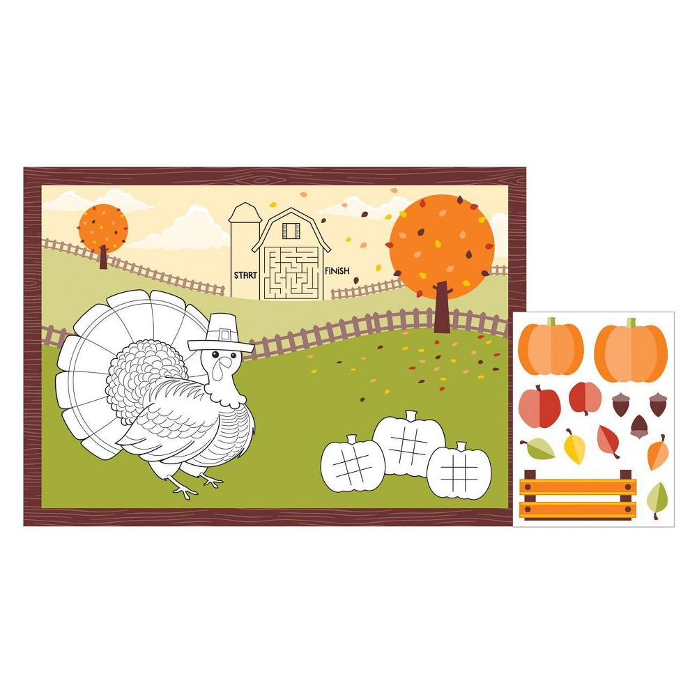 Image of 24ct Fall Paper Activity Placemats