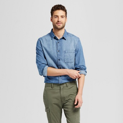 b4999eb0d4 Men s Long Sleeve 2-Pocket Denim Shirt - Goodfellow   Co™   Target