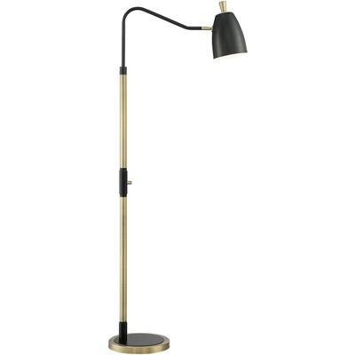 Possini Euro Design Modern Pharmacy Floor Lamp Adjustable Black Gold Metal for Living Room Reading House Bedroom Home Office