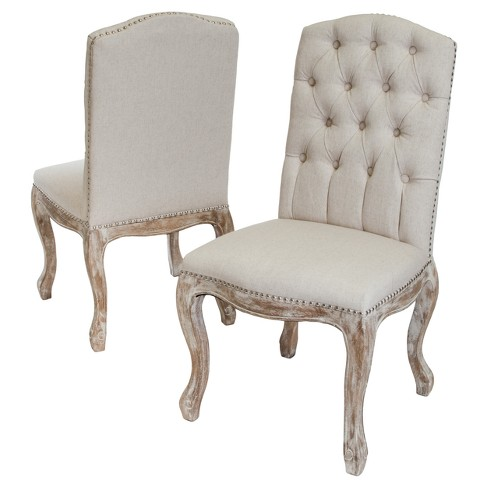 Set Of 2 Weathered Tufted Fabric Dining Chair Beige Christopher Knight Home Target