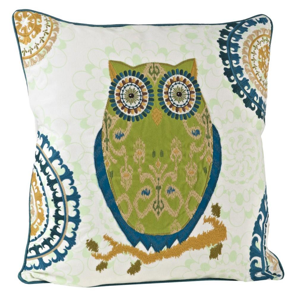 Chartreuse Owl Design Throw Pillow (18