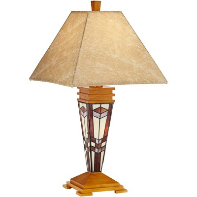Robert Louis Tiffany Mission Table Lamp with Nightlight Tiffany Style Base Faux Leather Shade for Living Room Family Bedroom