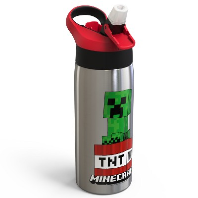 Minecraft 19oz Stainless Steel Water Bottle Red/Green - Zak Designs