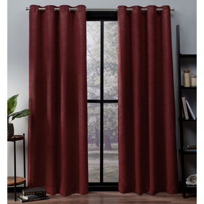 Exclusive Home Oxford Textured Sateen Thermal Room Darkening Grommet Top Window Curtain Panel Pair