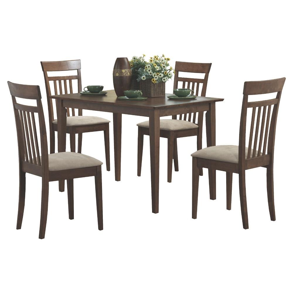Image of Dining Set - 5 Piece - Walnut Finish - EveryRoom, Brown