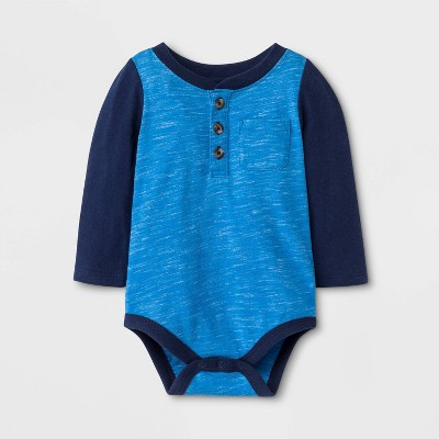 Baby Boys' Faux Creek Long Sleeve Jersey Bodysuit - Cat & Jack™ Blue 3-6M