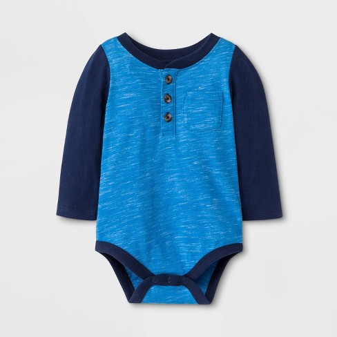 Baby Boys' Faux Creek Long Sleeve Jersey Bodysuit - Cat & Jack™ Blue - image 1 of 1