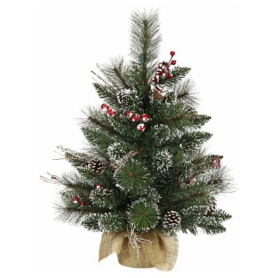 2ft Unlit Snow-Tipped Pine and Berry Artificial Christmas Tree in Burlap Base