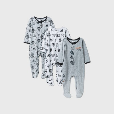 Baby Boys' 3pk Star Wars Sleep N' Play - Gray 3-6M