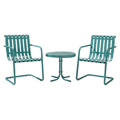 Gracie 3-Piece Metal Patio Chat Set - Blue