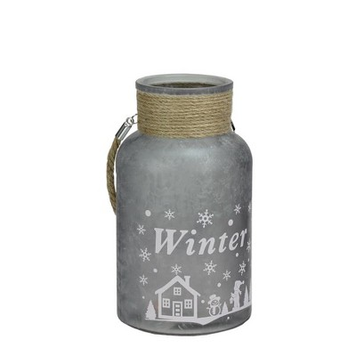 """Northlight 10"""" Iced Winter Scene Pillar Candle Holder Lantern with Handle - Silver"""