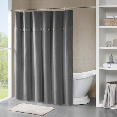 Lucina Cotton Textured Shower Curtain Gray