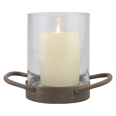 6.4  Stonebriar Glass Hurricane Candle Holder With Rustic Metal Tray Bronze - CKK Home Decor