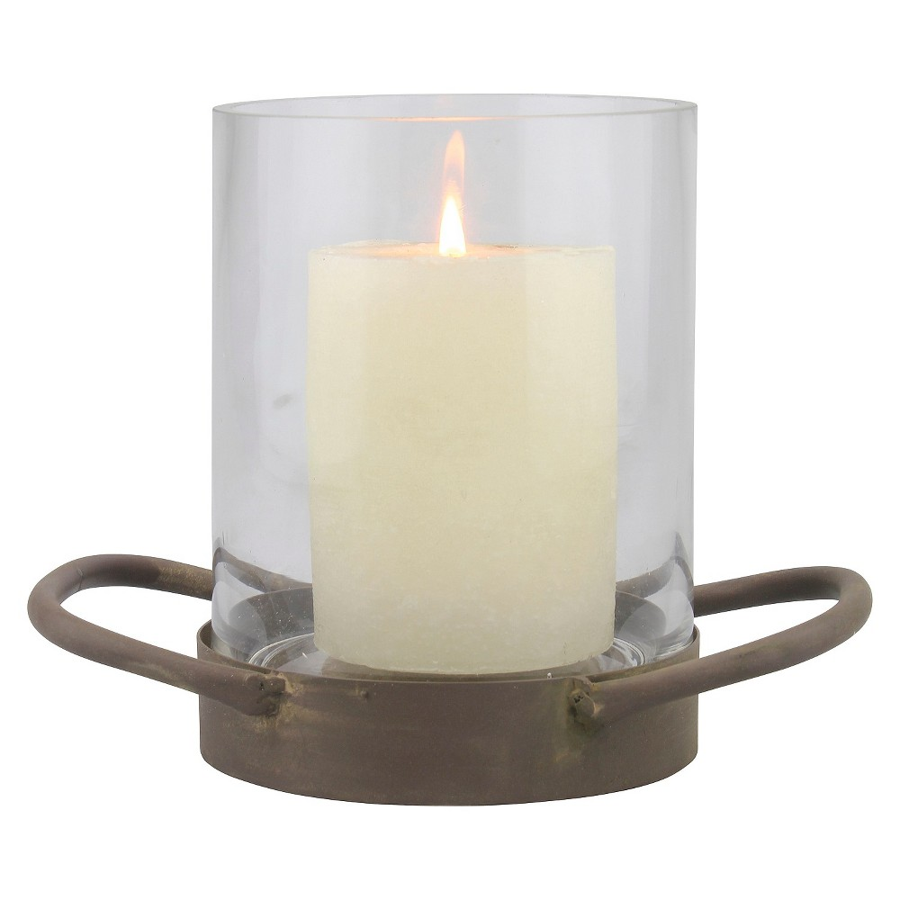 "Image of ""6.4"""" Stonebriar Glass Hurricane Candle Holder With Rustic Metal Tray Bronze - CKK Home Decor, Clear"""