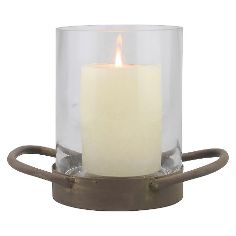 """6.4"""" Stonebriar Glass Hurricane Candle Holder With Rustic Metal Tray Bronze - CKK Home Decor - image 1 of 4"""